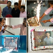 Srimanthudu 100days celebrations at Mythri office by fans